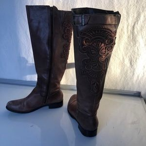 Like New Brown Embroidered Knee High Riding Boots